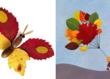 Кілька аплікацій із осіннього листя