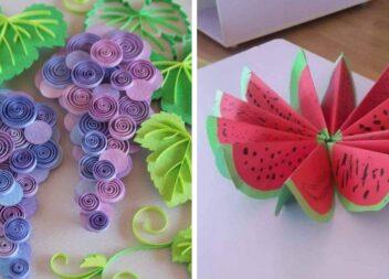 Овочі та фрукти із паперу: кольорові ідеї