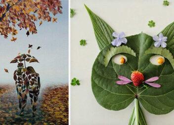 Чудові аплікації та картини із осіннього листя