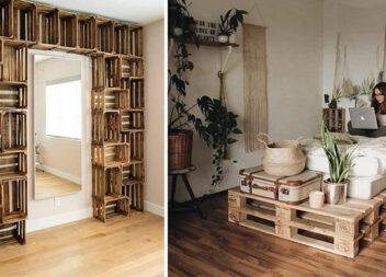 Дерев'яні ящики та палети в інтер'єрі дому